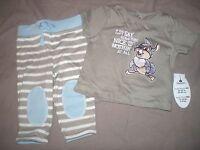 ensemble coton disney panpan  neuf etiqueté disney taille 3-6 mois bleu gris
