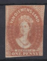 T93) Tasmania 1857-67 Chalon imperf wmk double lined numeral 1d Brick-red SG 27