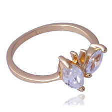 New Style Womens Yellow Gold Filled Bright Zirconia Cubic Ring Size 5.5