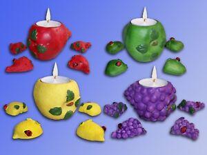 Tealight Candles Holder, 5tlg. Set Deco Fruit, Apple Strawberry Grape Lemon