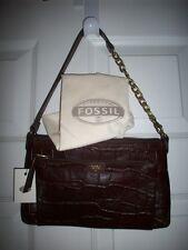 Fossil MIMI SHB1122201 Leather TopZip Dark Brown Shoulder/Clutch Bag, NWT