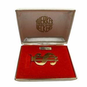 Vintage Gold Electroplated Dollar Sign Money Clip Tuerkes Beckers Original Box