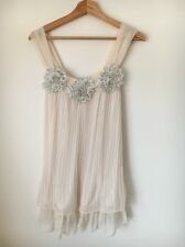 Summer Dress Size 8  Internacionale  Polyester Pleated Strap Cream Lined <T7260