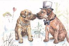 RARE Happy Valentine's Day! dogs puppies kiss Matyushina Russian modern postcard