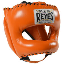 Cleto Reyes Traditional Leather Boxing Headgear w/ Nylon Face Bar - Tiger Orange