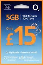 O2 UK prepay SIM card - £15 Big Bundle - 1000 UK mins, 5000 UK SMS, 5GB rollable