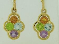 E053 - REAL 9ct Solid Gold NATURAL Multi-Gem Drop Earrings Peridot Citrine Topaz