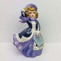 Vintage 1980 Atlantic Mold Christmas Village Ceramic Female Caroler Handpainted