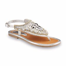 NEW! Bongo Youth Girl's Sofia Embellished Shield Sandals Silver #64812* 126i tr