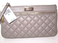 Michael Kors large Sophie Dark Taupe Quilt Leather Zip Clutch Bag New NWT $118