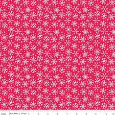 FLANNEL by 1/2 Yard - Riley Blake Christmas Fabric Santa Express Snowflakes Red
