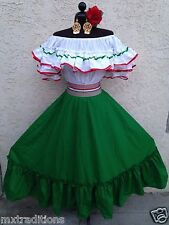 MEXICAN DRESS FIESTA,5 DE MAYO,WEDDING RED OFF SHOULDER 2 PIECE W/SMALL SASH
