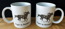 CIGAR - CERAMIC HORSE RACING MUG SHOWS MASSACHUSETTS HANDICAP WIN - JERRY BAILEY