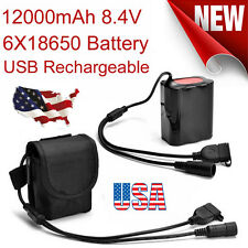 USB Rechargeable 8.4V 12000mAh 6X18650 Battery Pack For Bicycle Light Bike Torch
