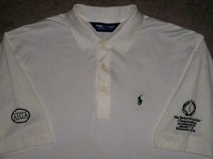 Men's NWOT POLO RALPH LAUREN Golf Polo L WHITE w/Green Horse w/AJGA & Memorial