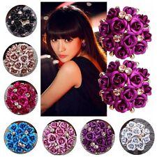 Crystal Jewelry Earring Rhinestone Ear Stud Rose Flower