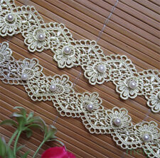 1yd Vintage Yellow Pearl Embroidered Lace Trim Ribbon Wedding Applique DIY Craft
