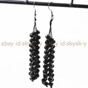 Faceted 4x6mm Multi-color Crystal Rondelle Beads Tassel Dangle Hook Earrings