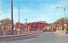 Mechanic Falls ME Bridge Street View Store fronts Old Cars Postcard