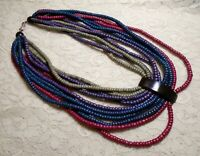 VINTAGE MULTI STRAND MULTI COLOR WOOD BEADED BIB STATEMENT NECKLACE 25 INCH