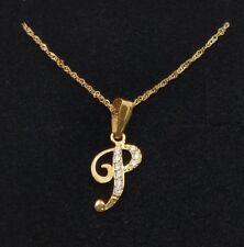 129015092009 Colgante oro 18k inicial letra P con cadena oro 18k. Con circonitas.