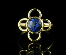 CARELLE SIGNED 9MM ROUND NATURAL IOLITE SOLID 18K GOLD CLOVER FLOWER ICON RING