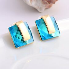 Blue Austria Crystals 14k Gold Plated Women Party Wedding Chunky Stud Earrings
