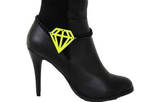Women Black Metal Chain Boot Bracelet Heel Shoe Diamond Shape Neon Yellow Charm