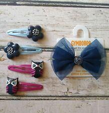 Gymboree Charm Class owl navy blue flower hair clip & hair bow barrette set BTS