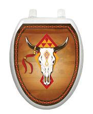 Toilet Tattoos Southwest Cow Skull Brown Bathroom Lid   Vinyl Reusable 0007