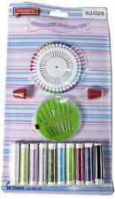 SEWING SET ACCESSORY KIT SET WITH THREADS NEEDLES MEASURING TAPE SCISSORS NEW