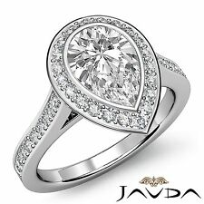 Gia F Color Vs2 Platinum 2.05ct Bezel Halo Pre-Set Pear Diamond Engagement Ring