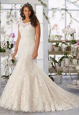 Plus Size White/Ivory Lace Wedding Dress Bridal Gown Custom 16-18-20-22-24-26+++