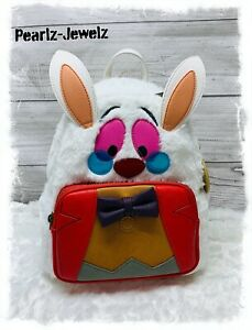Loungefly Disney Alice in Wonderland Furry White Rabbit Mini Backpack New w/Tags