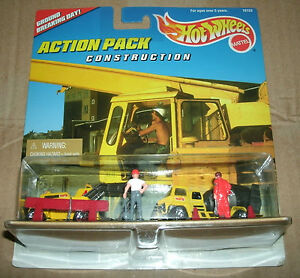 1/64 Scale 1996 Hot Wheels Action Pack Construction Equipment Set Mattel 16153