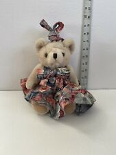 Vintage Jointed Stuffed Teddy Bear with Handmade dress With Ear Rings