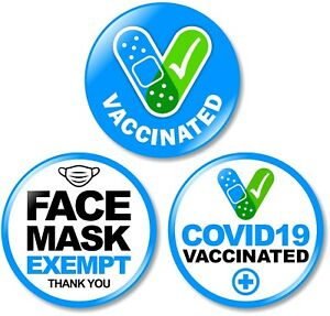 3 x Exempt from Wearing Face Cover Vaccinated BUTTON PIN BADGE Medical Health