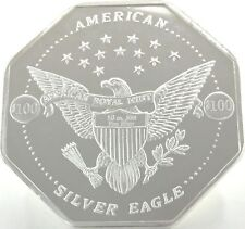 10 OUNCE SILVER OCTAGON SHAPED .999+ FINE  $100 AMERICAN ROYAL MINT EAGLE