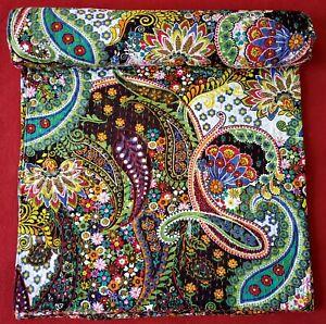 Paisley Print Cotton Kantha Quilt Throw Blanket Bedspread Handmade Work Indian