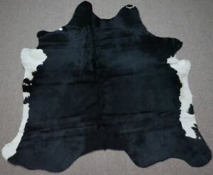Large Brazilian Natural black with white belly  Cowhide rug 5.10x 5.4 ft -3009