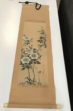 "JAPANESE HANGING SCROLL ART Painting ""Bird and Flowers"" Asian antique"