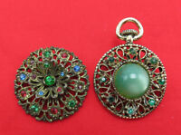 Gerry's Vintage Brooch Pocket Watch & Green Blue Crystal Gold Pin Signed 561k