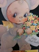"Vtg Gibson Easter Greeting Card Baby's First Girl Bunny 10""h 1940s Diecut Flock"
