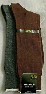 Mens Nordstrom Merino Wool Blend Socks Grey & Brown 2 Pairs Dress Socks Large