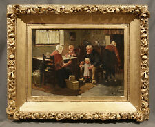 Oil Painting Dutch Family Scene signed Jan Josef Horemans the Younger (FLEMISH)