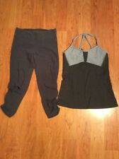 ATHLETA WOMEN'S CAPRI PANT & TANK TOP RACERBACK GRAY SIZE S