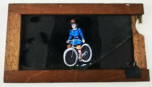 VICTORIAN HAND PAINTED MAGIC LANTERN SLIPPING SLIDE /  LADY ON BICYCLE