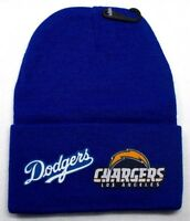 READ ALL!Los Angeles Chargers/Dodgers Heat SET Flat Logos on Beanie Knit Cap hat