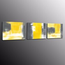 Abstract Canvas Prints Picture Wall Art Yellow and gray painting No Frame 3pcs