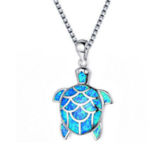 925 Silver Mini Cute Turtle Blue Fire Opal Charming Pendant Necklace Jewelry NEW